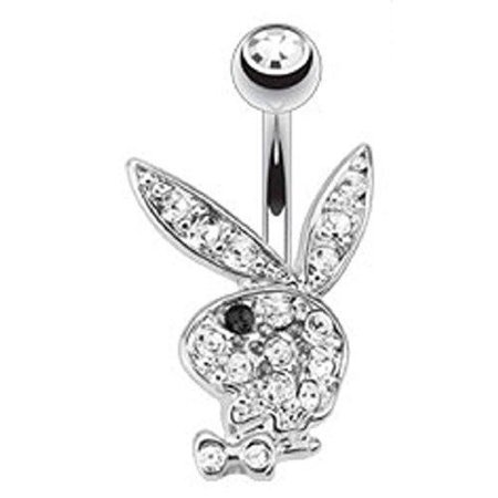 Multi Paved Gems on Playboy Bunny 316L Surgical Steel Navel Ring Belly Button Ring