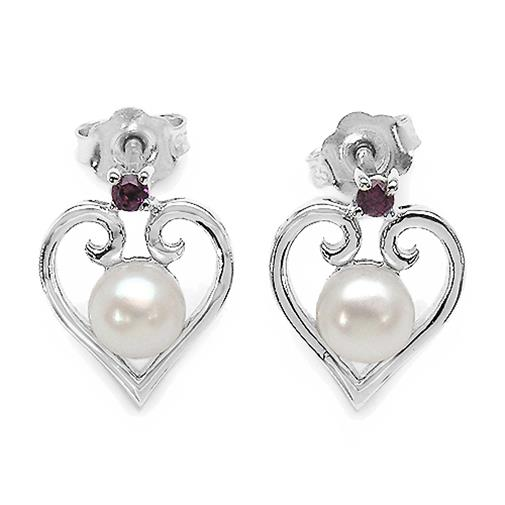 2 1/10 CTW Round Cut Rhodolite with Pearl Stud Earrings in .925 Sterling Silver (MDS150341) - image 2 of 2