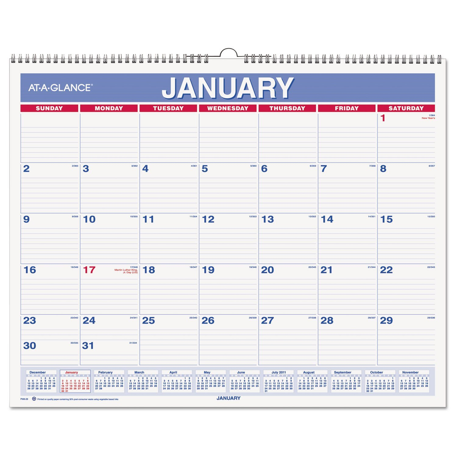 Wall Calendar 2017 Monthly 14 7 8 X 11 Wirebound Pm8 28 Pack Of 2 Features Contemporary Design And Plenty By At A Glance