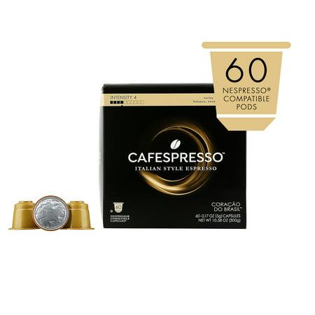 Cafespresso Coracao do Brasil Espresso, Nespresso Compatible Pods (Capsules), 60 Ct.