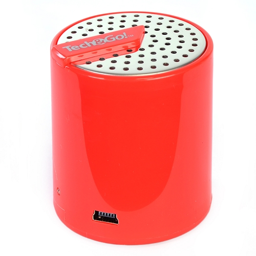 Tech & Go Splash Mini Speaker Rechargeable and Portable with Auxiliary Port - Red