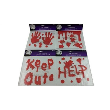 Bloody Hands (Bloody Splatter Hand Print, Help, Keep Out, Blood Spatter Gel Stickers Zombie Halloween, Haunted House Decorations 4 Piece)