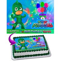 Gekko PJ MASKS Edible Cake Topper Personalized Birthday 1/4 Sheet Decoration Custom Sheet Party Birthday Sugar Frosting Transfer Fondant Image Edible Image for cake