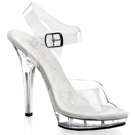 5 Inch Cute Bridal Shoe High Heel Mini Platform Shoe With Clear Straps Clear