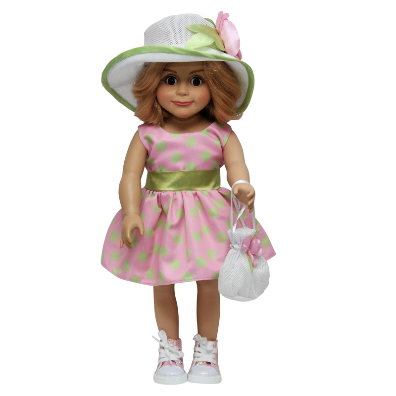 18 inch Doll Clothing Outfit Includes Pink & Green Polka Dot Dress, Hat and Hand Bag too!