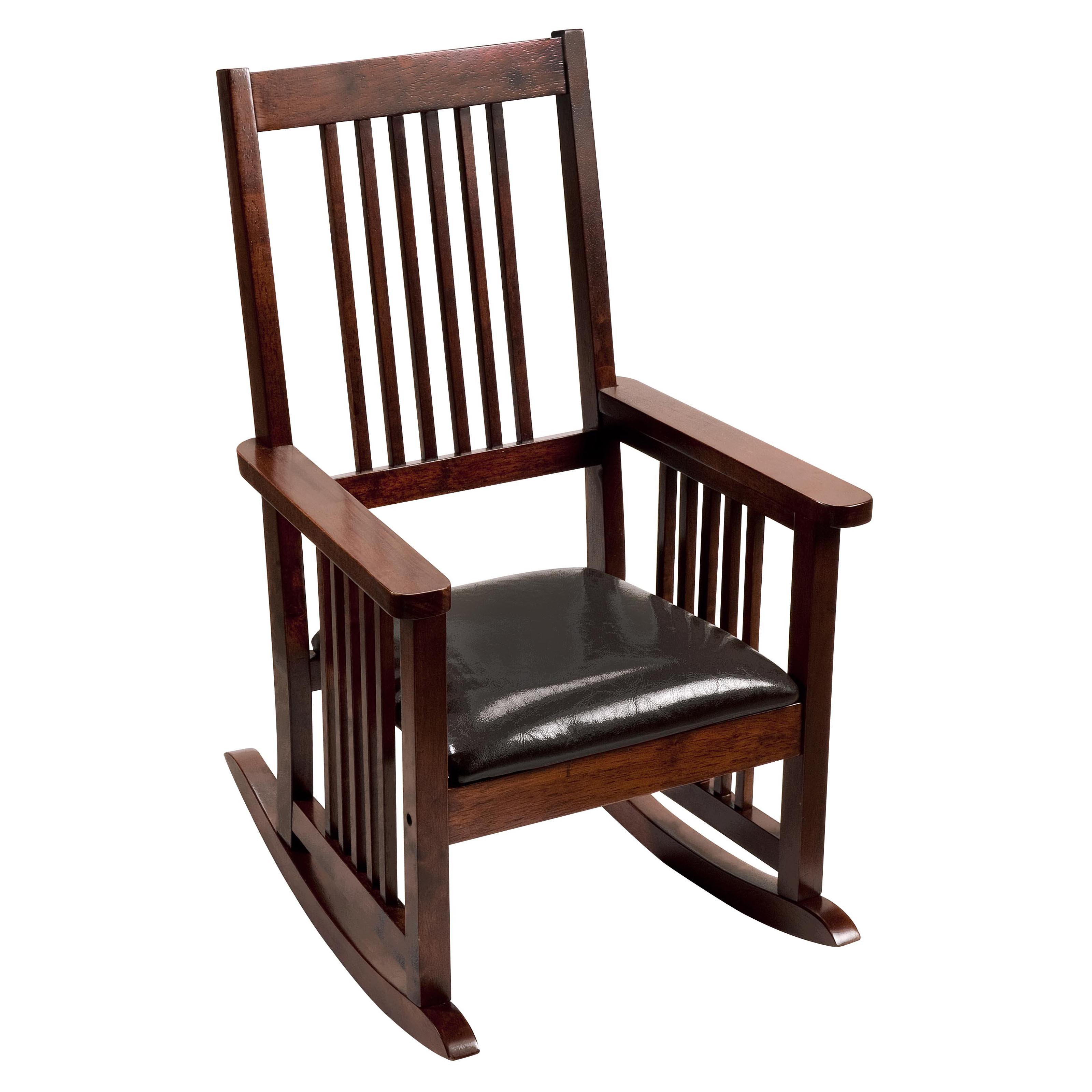 Mission Style Childrens Rocking Chair with Upholstered Seat by Gift Mark