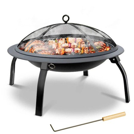 Portable Fire Pit, 22'' Folding Fire Pits Outdoor Wood Burning Steel BBQ Grill Firepit Bowl with Mesh Log Grate Wood Fire Poker Carry Bag for Camping Picnic Bonfire Patio Backyard Garden Beaches Park