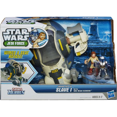 Star Wars Jedi Force Jango Fetts Slave 1 With Obi Wan Kenobi Mini Figure Set