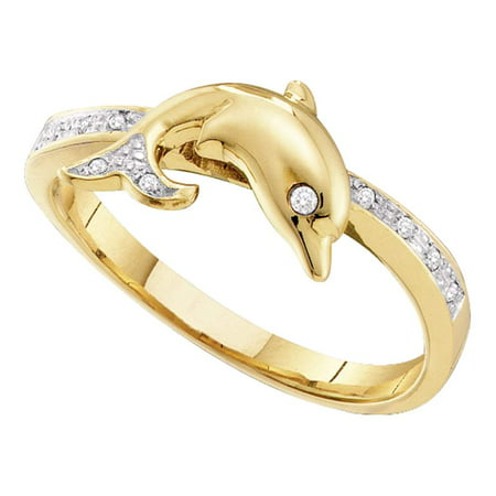 Size 7 - 10k Yellow Gold Round Diamond Slender Dolphin Animal Fish Ring 1/20 Cttw