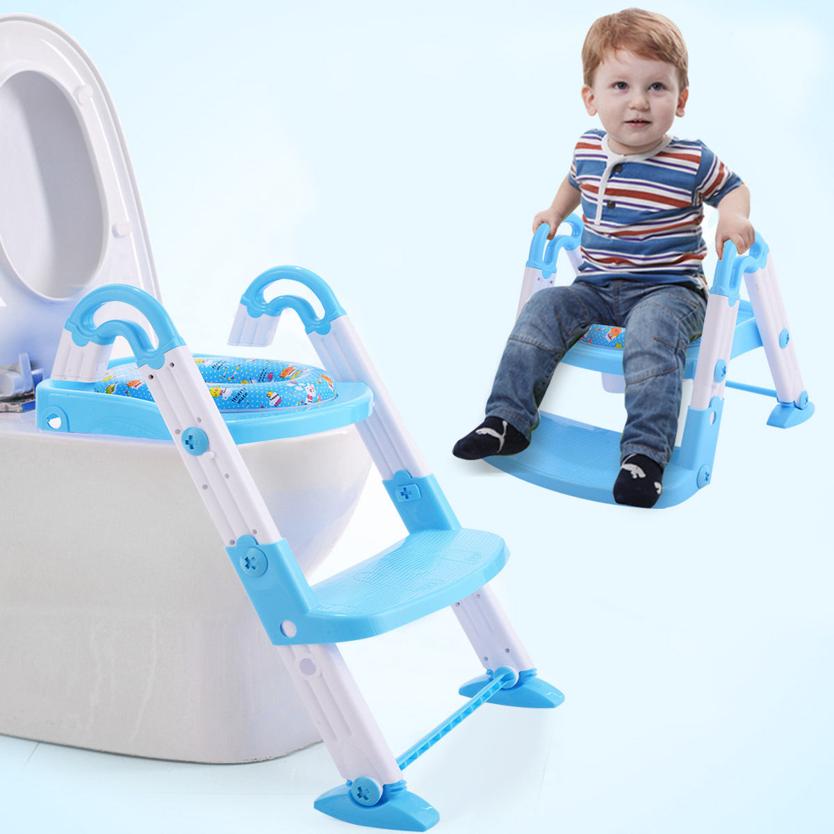 Goplus 3 in 1 Baby Potty Training Toilet Chair Seat Step Ladder Trainer Toddler Blue