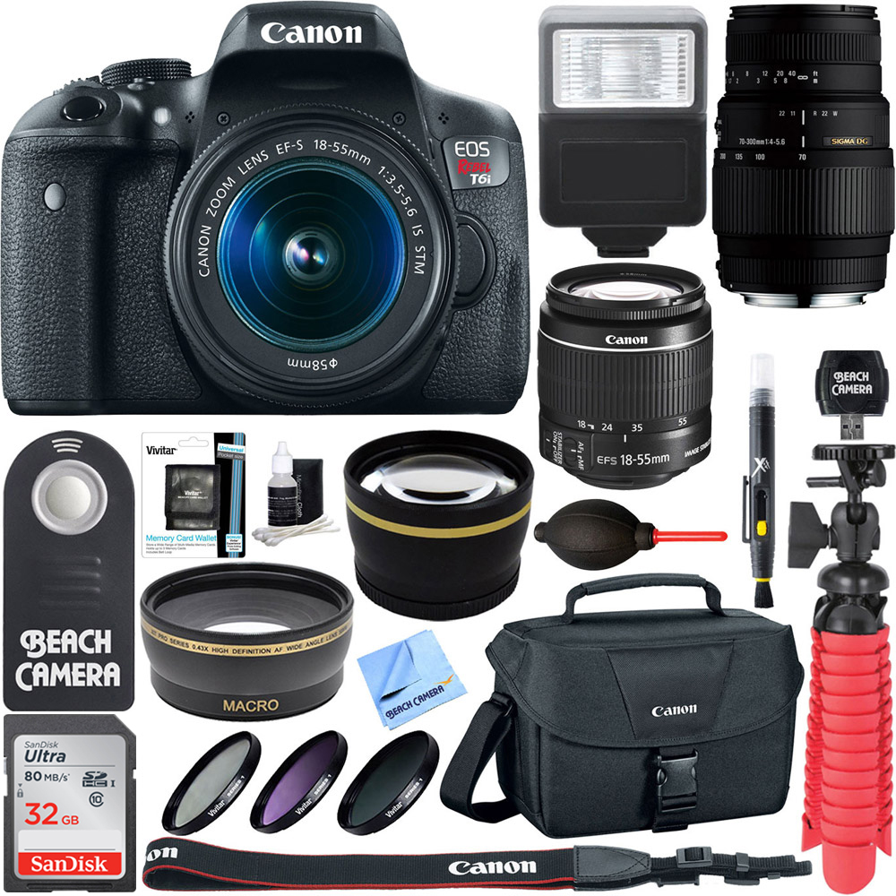Canon EOS Rebel T6i Digital SLR Camera Wifi + EF-S 18-55mm IS & Sigma 70-300mm Lens Kit + Accessory Bundle 32GB SDHC Memory + DSLR Photo Bag + Wide Angle Lens + 2x Telephoto Lens +Flash+Remote+Tripod