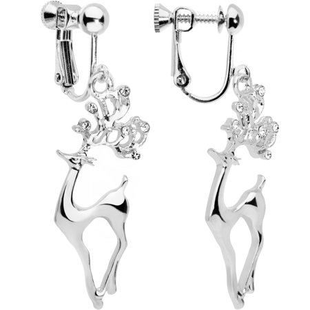 Body Candy Handcrafted Silver Plated Clear Accent Prancing Reindeer Clip On Earrings](Reindeer Ears)