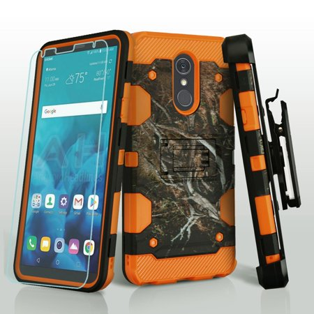 Military Grade Storm Tank Case + Holster + Tempered Glass Screen Protector for LG Stylo 4 - Tree Camouflage (Hardigg Industries Im2875 Storm Case)