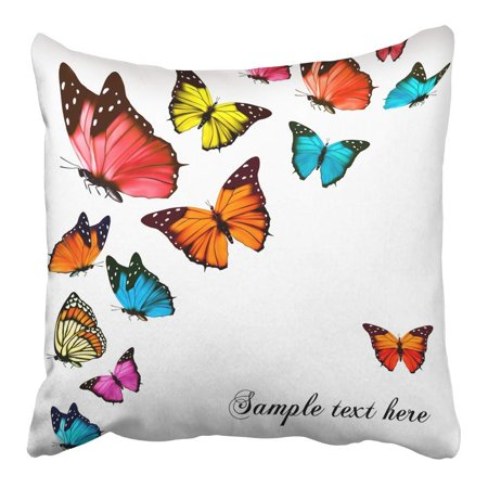 ARHOME Pink Butterfly with Colorful Butterflies Blue Flying White Monarch Black Spring Pillowcase Cushion Cover 16x16 inch - Blue Monarch