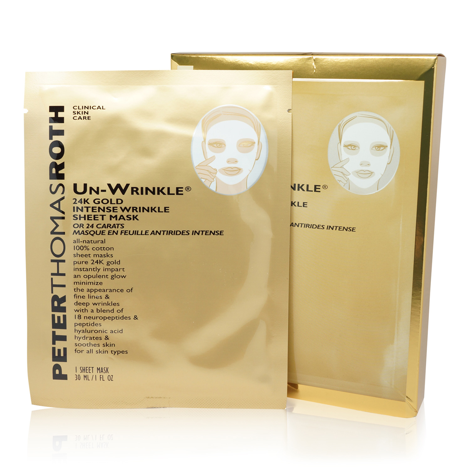 Peter Thomas Roth Un-Wrinkle 24K Gold Intense Wrinkle Sheet Mask - 6 Sheets
