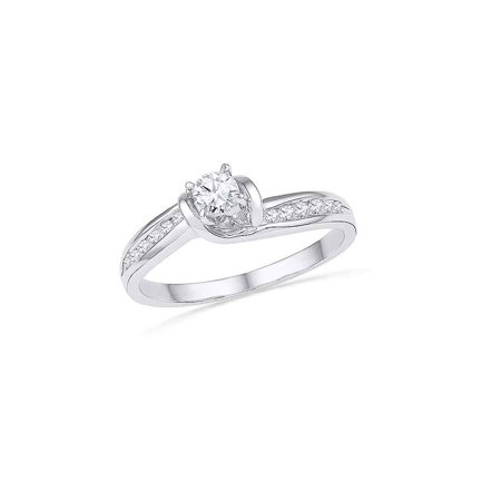 10k White Gold Womens Round Diamond Bridal Wedding Engagement Anniversary Ring 1/3 Cttw - image 1 of 1