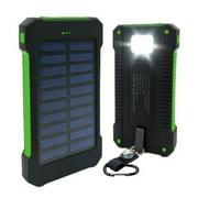 50000mAh Dual-USB Waterproof Solar Power Bank Portable LED LCD Compass Battery Charger