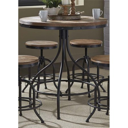 Black Weathered Cottage Pub - Bowery Hill Metal Pub Table in Weathered Gray and Black