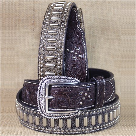 34 INCH WESTERN ARIAT TOOLED CROSS STUDS CONCHO LEATHER BROWN MENS BELT