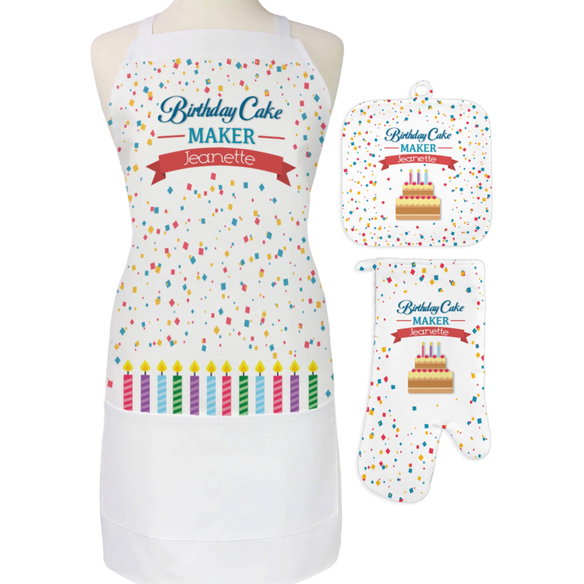 Personalized Birthday Cake Maker 3-Piece Apron, Potholder and Oven Mitt Set
