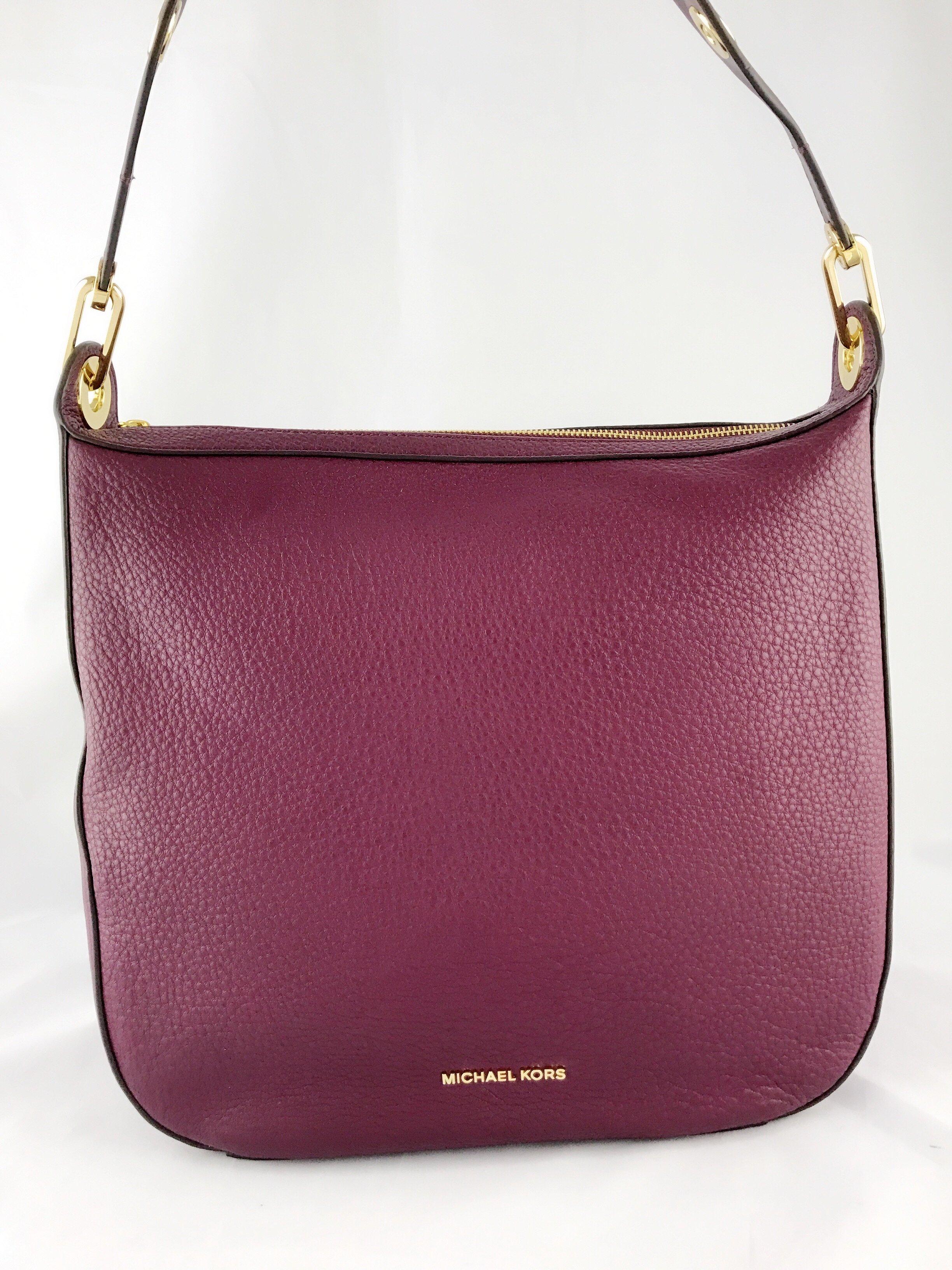 8f41f8355cc1 michael michael kors raven large leather shoulder bag, purple - Walmart.com