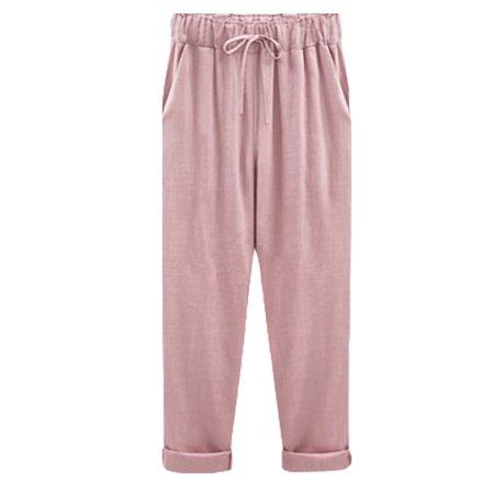 Women Plus Size Drawstring Elasticity Waist Casual Loose Slim Summer Beach Cropped Ninth Pants Plain Nine Points Midi Trousers M-6XL
