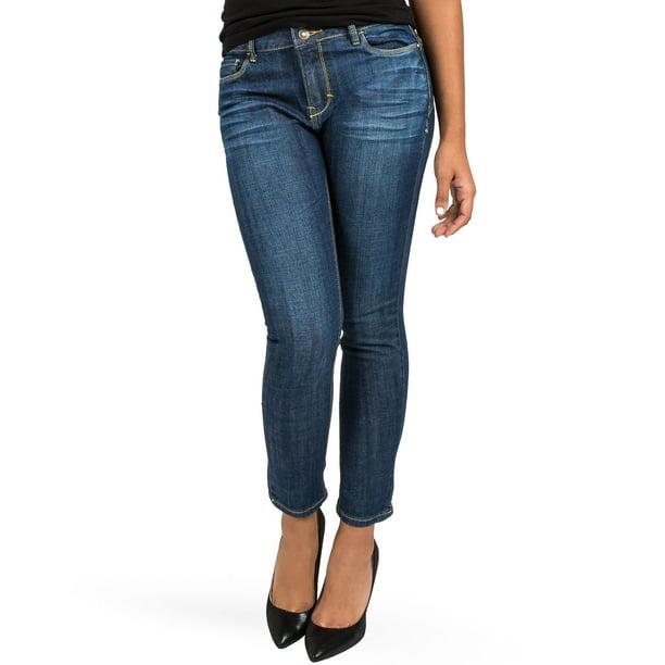 Miss Halladay Women's Stretch Denim Skinny Ankle Jeans Midrise 2-button Waist