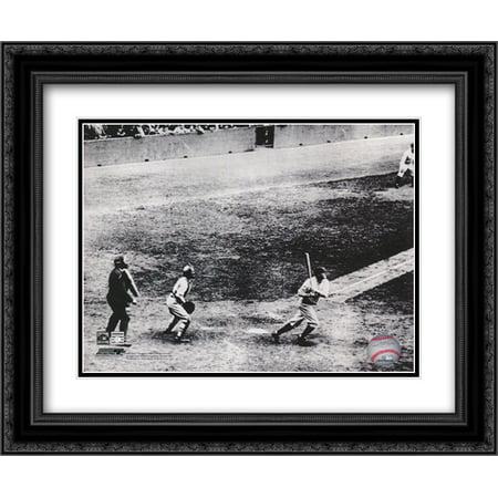 (Babe Ruth, 1927 60th Home Run 2x Matted 24x20 Black Ornate Framed Art Print)