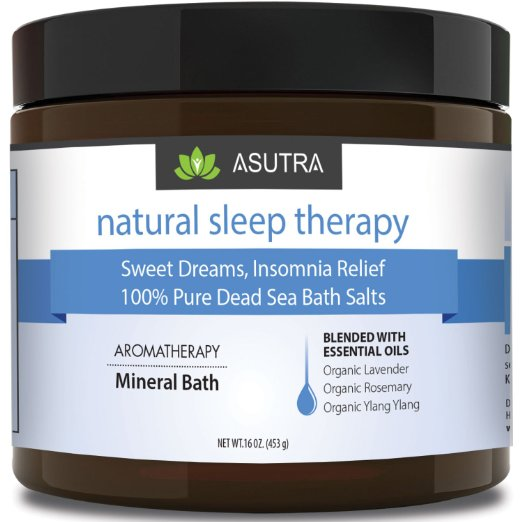 NATURAL SLEEP THERAPY - 100% Pure Dead Sea Bath Salts / Sweet Dreams, Insomnia Relief / Rich In Vital Healing Minerals / Organic Essential Oils of Lavender, Rosemary, Ylang Ylang - 16oz