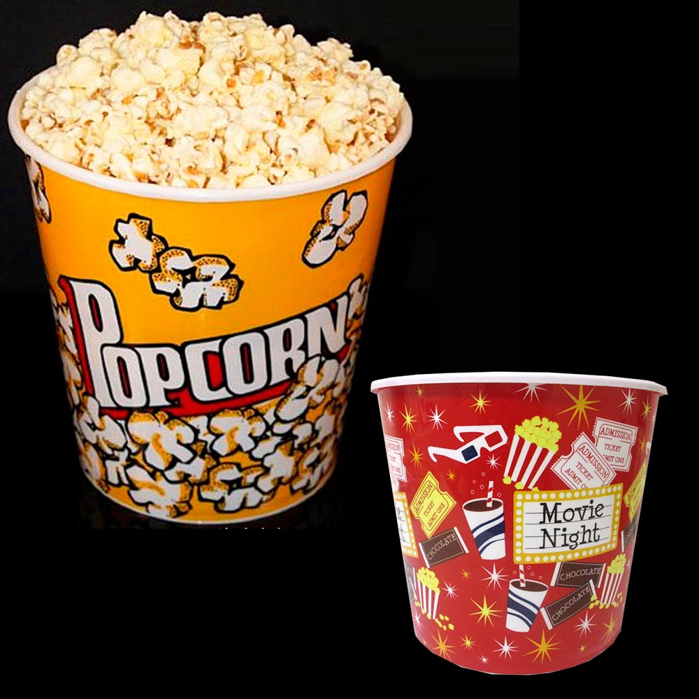 "Retro Style Reusable Popcorn Bowl Plastic Container Movie Theater Bucket 8"" Tall"