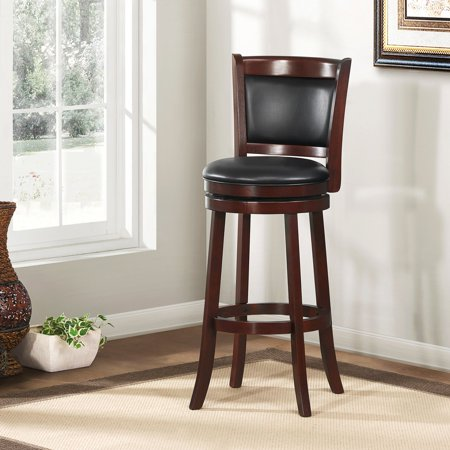 "Weston Home Shapel 29"" Swivel Cushion Back Bar Stool with Faux Leather Cushion, Cherry"