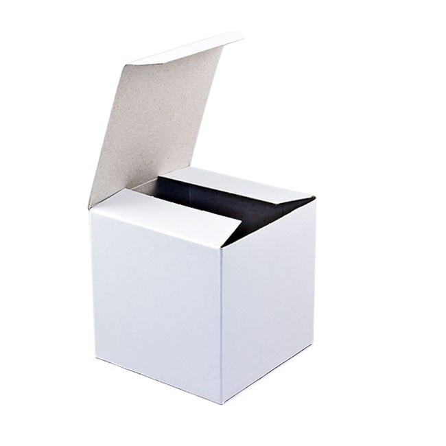 Glossy White Blank Paper Cube Gift Box 4 x 4 x 4 Inches