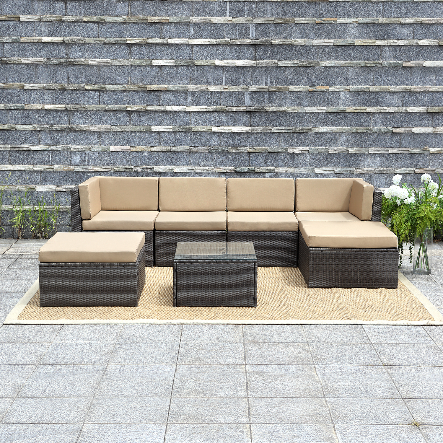 $50 Off 7 Piece Outdoor Wicker Sofa Wisteria Lane Patio Furniture Set, $549.99 Now