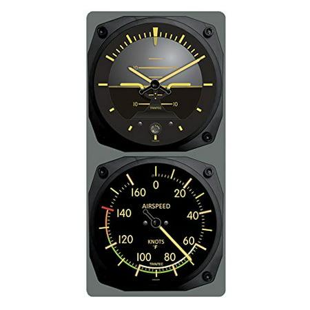 Trintec Vintage Aircraft Horizon Wall Clock/Airspeed Thermometer (°F) Combo - image 1 de 1