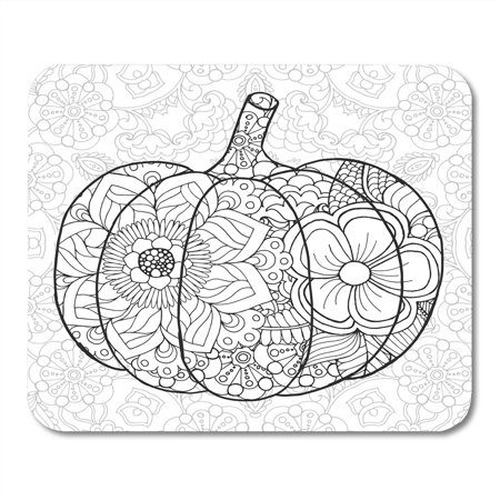 LADDKE Zentangle Pumpkin Black White Traditional Symbol of Thanksgiving Halloween Autumn Sketch for Colouring Mousepad Mouse Pad Mouse Mat 9x10 inch - Colouring In Halloween Pumpkins