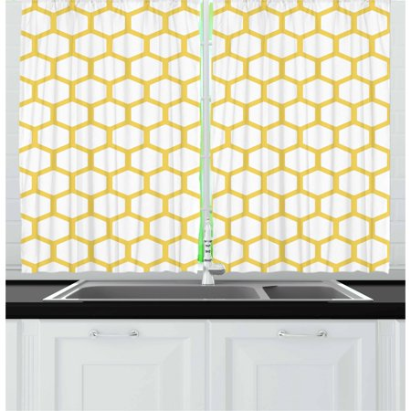 Yellow and White Curtains 2 Panels Set, Hexagonal Pattern Honeycomb Beehive Simplistic Geometrical Monochrome, Window Drapes for Living Room Bedroom, 55W X 39L Inches, Mustard White, by Ambesonne