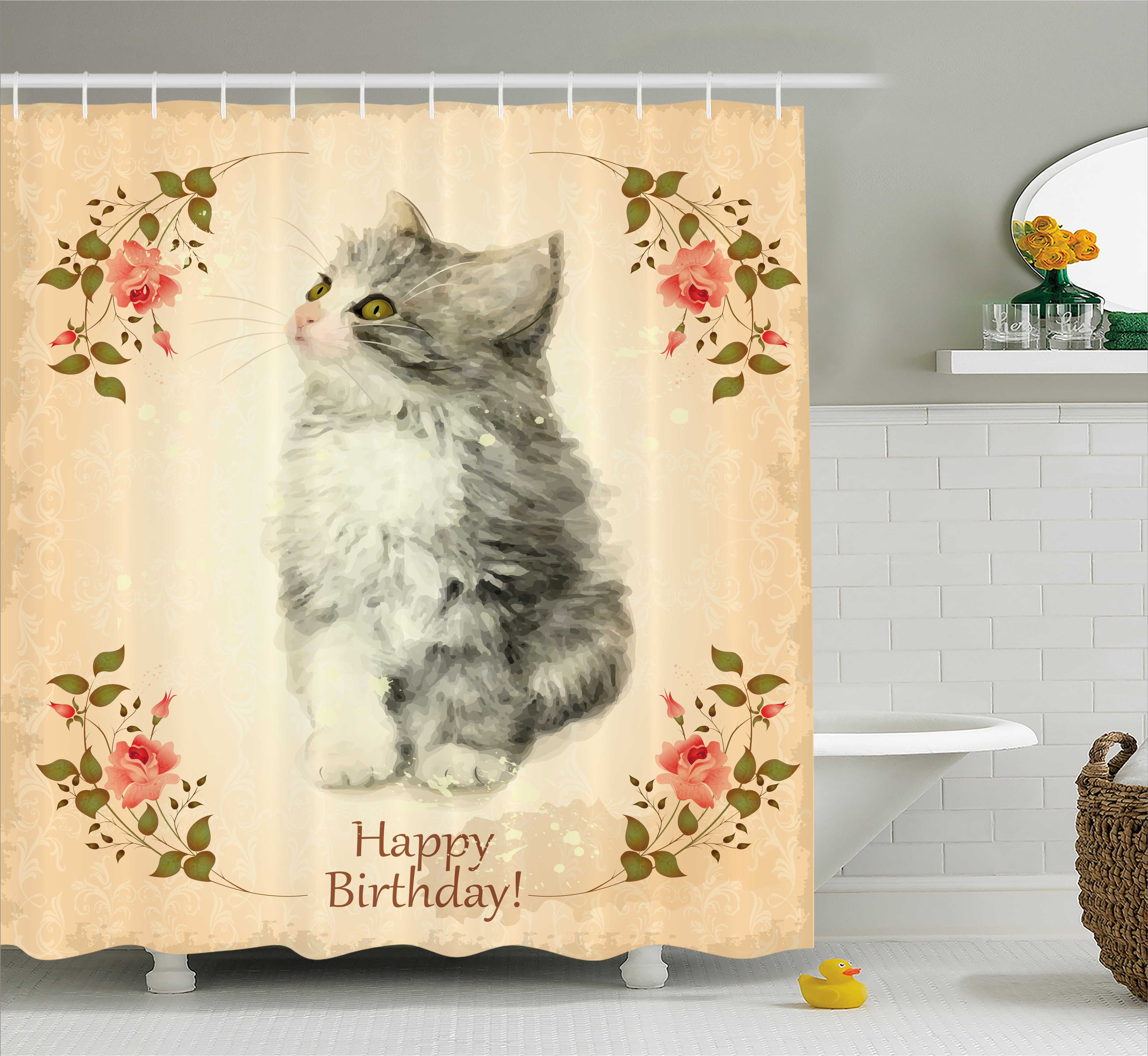 Birthday Decorations Shower Curtain, Adorable Fluffy Cat Rose Branches Greeting Card Inspired Design, Fabric Bathroom Set with Hooks, 69W X 70L Inches, Tan Grey Coral, by Ambesonne