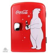 Coca-Cola Polar Bear Portable 6 Can Thermoelectric Mini Fridge Cooler/Warmer, 4 L/4.2 Quarts Capacity, 12V DC/110V AC for home, dorm, car, boat, beverages, snacks, skincare, cosmetics, medication