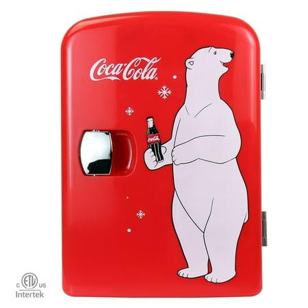 Coca-Cola 4 Liter/6 Can Polar Bear Mini Fridge, AC/DC, Cooler/Warmer-Use at Home, Office, Dorm, Car, Boat