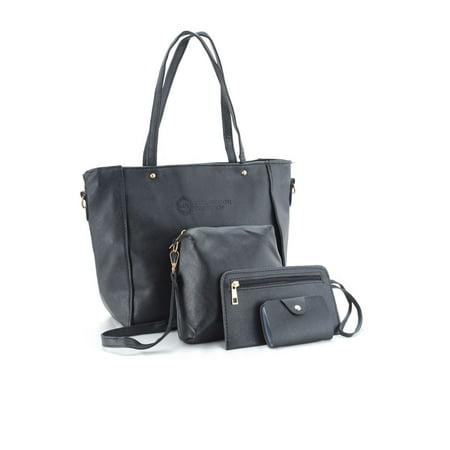 Black Messenger Shoulder Bag (Lux Decor 4 Piece: Women Handbag Shoulder Bag Leather Messenger Hobo Bag Satchel Purse Tote - Black )