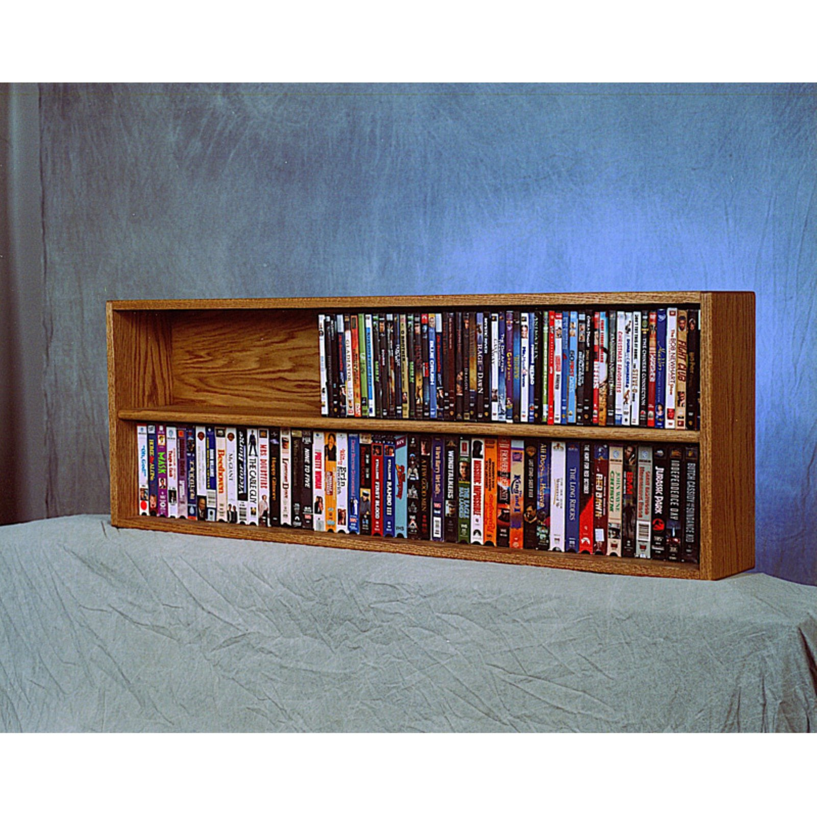 The Wood Shed Solid Oak Wall / Shelf Mount DVD / VHS Media Cabinet