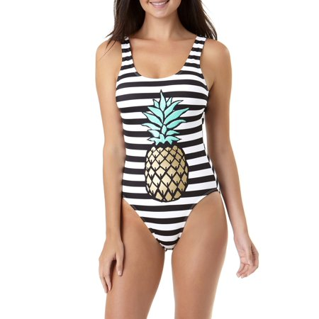e60a48bcb No Boundaries - Juniors' Pineapple Passion One-Piece Swimsuit - Walmart.com