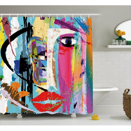Art Shower Curtain, Contemporary Paint Strokes Splashes Face Mask Paint Kiss Graffiti Grunge Creative Theme, Fabric Bathroom Set with Hooks, Multicolor, by Ambesonne
