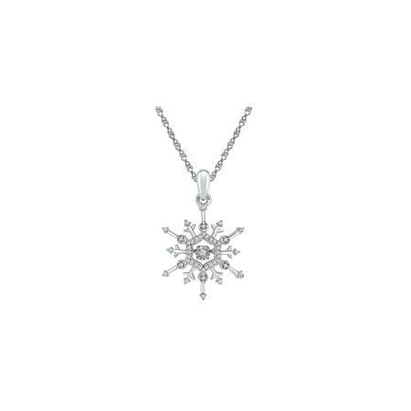 10kt White Gold Womens Round Diamond Snowflake Winter Cluster Pendant 1/6 Cttw