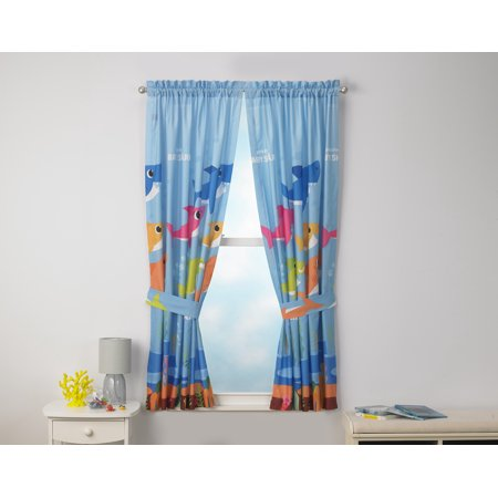 Baby Shark Kids Bedroom Curtain Panel Set, Set of 2, 63-inch L ()