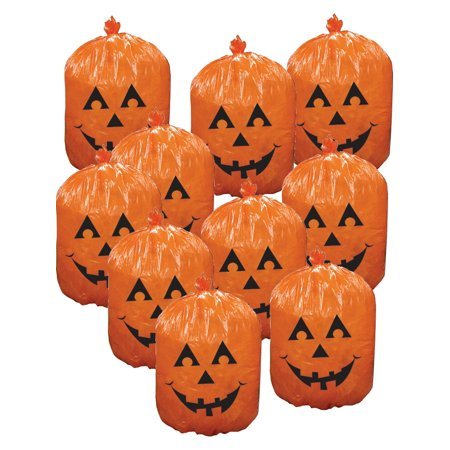 10 Plastic Halloween Pumpkin Leaf Bags Yard Decorations for $<!---->