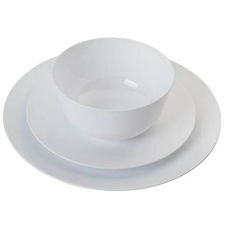 Trendables 60 Piece Plastic Dinnerware Set - Includes 20 of Each: Dinner Plates, Appetizer Plates & Soup Bowls - White