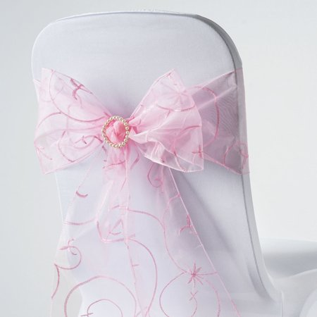 BalsaCircle 5 Fancy Embroidered Sheer Organza Chair Sashes Bows Ties - Wedding Party Ceremony Reception Event Decorations Supplies - Pink Flamingo Decorations Supplies