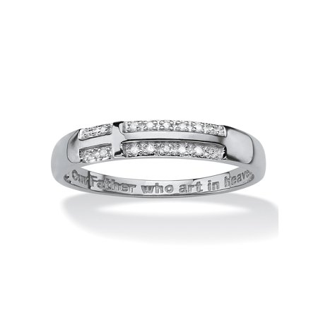 Accented Cross Ring (Men's Pave Diamond Accent