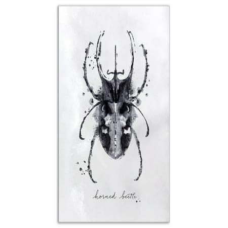- DESIGN ART Designart 'Monotype horned beetle black' Animals Painting Print on Wrapped Canvas - White